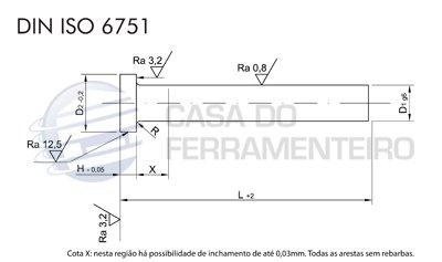 Desenho técnico do pino extrator AV03